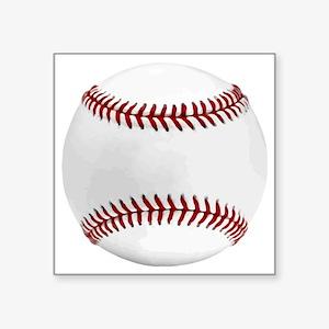 "White Round Baseball Red St Square Sticker 3"" x 3"""