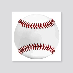 "White Round Baseball Red St Square Sticker 3"" x 3"""