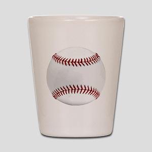 White Round Baseball Red Stitching Shot Glass