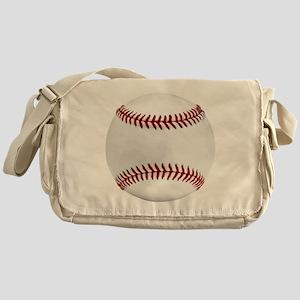 White Round Baseball Red Stitching Messenger Bag