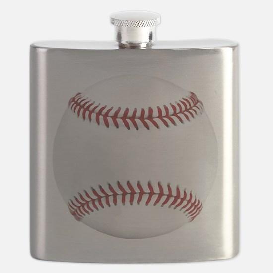 White Round Baseball Red Stitching Flask