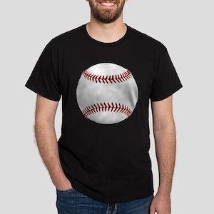 White Round Baseball Red Stitching Dark T-Shirt