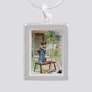 He Was Playing The Flute Silver Portrait Necklace