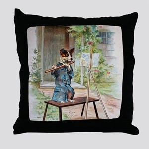 He Was Playing The Flute Throw Pillow