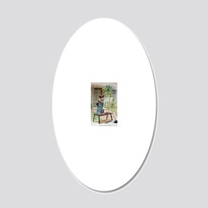 He Was Playing The Flute 20x12 Oval Wall Decal