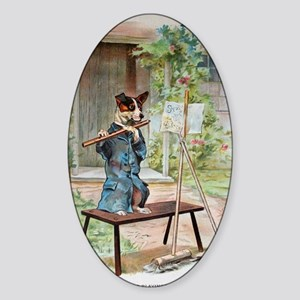 He Was Playing The Flute Sticker (Oval)