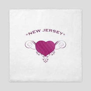 New Jersey State (Heart) Gifts Queen Duvet