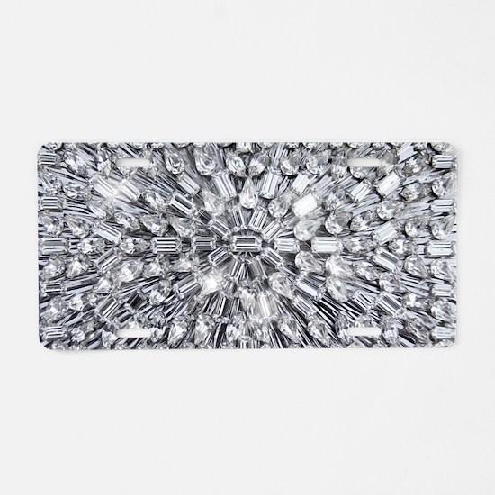Radial Rhinestone Bling Aluminum License Plate