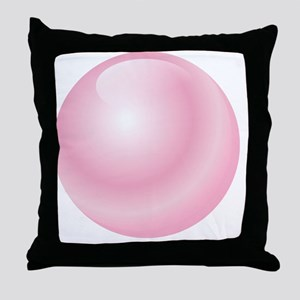 Pink Bubblegum Bubble Throw Pillow