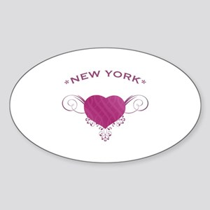 New York State (Heart) Gifts Sticker (Oval)