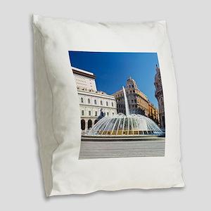 Piazza de Ferrari Burlap Throw Pillow