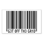 Get off the Grid   Sticker (Rectangle 10 pk)