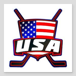 "American Hockey Shield Logo Square Car Magnet 3"" x"