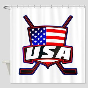 American Hockey Shield Logo Shower Curtain