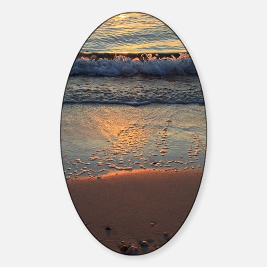 beach and waves... Sticker (Oval)