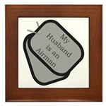 My Husband is an Airman dog tag Framed Tile