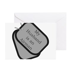 My Husband is an Airman dog tag Greeting Cards (P