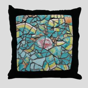 Turqoise tile Throw Pillow
