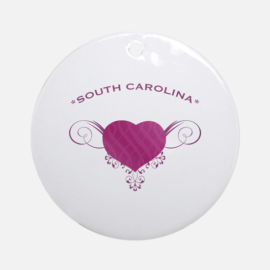 South Carolina State (Heart) Gifts Ornament (Round