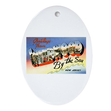 Wildwood New Jersey Greetings Oval Ornament