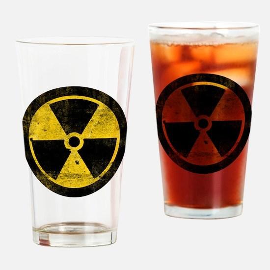 Grunge Radioactive Symbol Drinking Glass