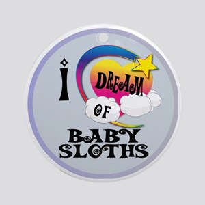 I Dream of Baby Sloths Round Ornament