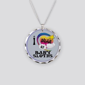 I Dream of Baby Sloths Necklace Circle Charm