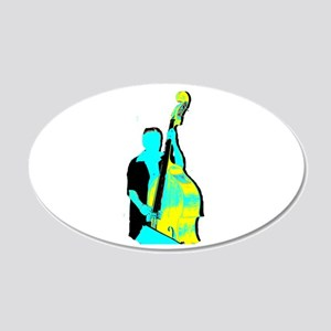 Upright Bass Player Yellow Blue Wall Decal