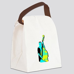 Upright Bass Player Yellow Blue Canvas Lunch Bag