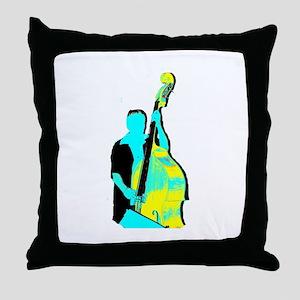 Upright Bass Player Yellow Blue Throw Pillow