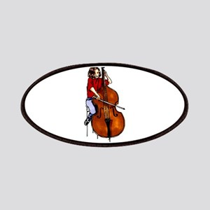 Girl playing orchestra bass red shirt Patches