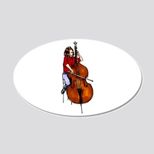 Girl playing orchestra bass red shirt Wall Decal