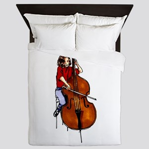 Girl playing orchestra bass red shirt Queen Duvet