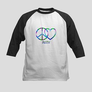 Peace Love Math Kids Baseball Tee