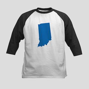 Indiana State Shape Outline Kids Baseball Tee