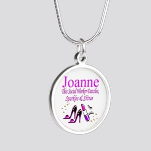TOP SOCIAL WORKER Silver Round Necklace