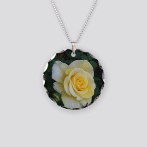 yellow rose Necklace Circle Charm