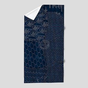 Sashiko-style Embroidery Beach Towel
