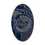 Sashiko-style Embroidery 20x12 Oval Wall Decal
