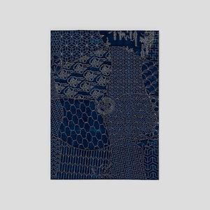 Sashiko-style Embroidery 5'x7'Area Rug