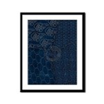 Sashiko-style Embroidery Framed Panel Print