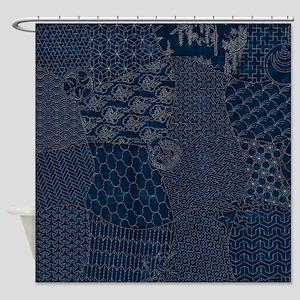 Sashiko Style Embroidery Shower Curtain