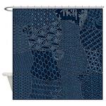 Sashiko-style Embroidery Shower Curtain
