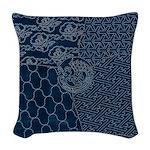 Sashiko-style Embroidery Woven Throw Pillow