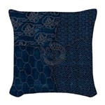 Sashiko-style Embroidery Woven Throw Pillow