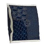 Sashiko-style Embroidery Burlap Throw Pillow
