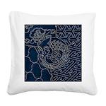 Sashiko-style Embroidery Square Canvas Pillow