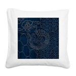 Sashiko-style Embroidery Square Canvas Pillow