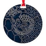 Sashiko-style Embroidery Round Ornament