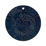 Sashiko-style Embroidery Ornament (Round)